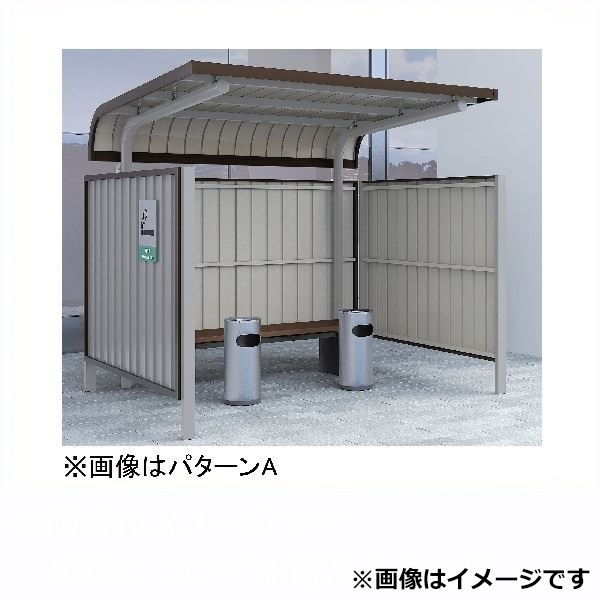 ダイケン 喫煙所 パターンA 出入口方向:前 基礎埋込式 SB-LSE型 SB-LSE19GAS スチール 『ダストボックス ゴミステーション 屋外』