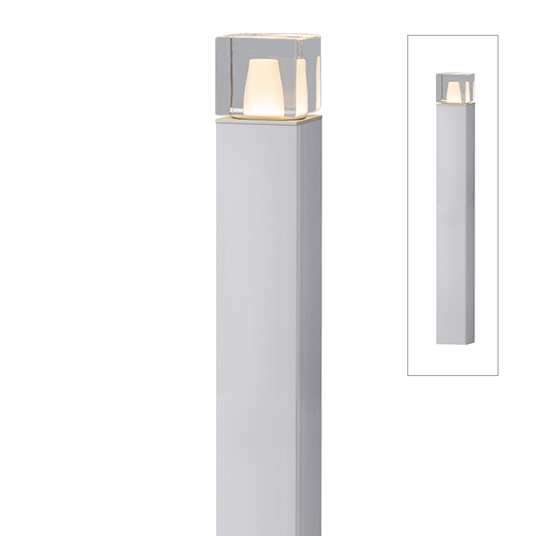 タカショー エバーアートポールライト 6型 ローボルト 拡散光 ガラスブロック HBC-D66S #75429800 『ローボルトライト』 『エクステリア照明 ライト』 シルバー