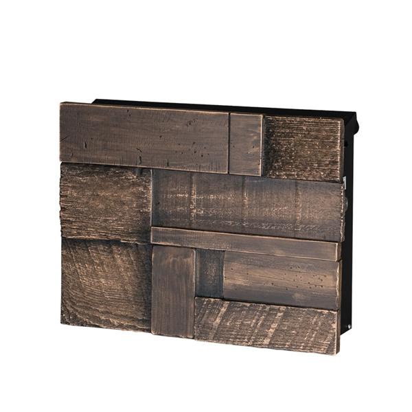 オンリーワン ノイエキューブ ブロックウッド 大容量・壁掛け仕様 GM1-EBG3 ヴィンテージブラウン 『郵便ポスト』 ヴィンテージブラウン