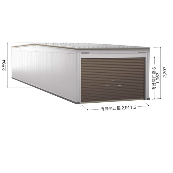 ヨドガレージ ラヴィージュ3 縦連結タイプ 一般型 追加棟 VGC-335252H  *基本棟と同時に購入しないと、商品の販売が出来ません 『シャッター車庫 ガレージ』