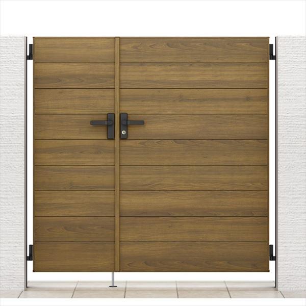 リクシル 開き門扉AA YM1型 柱仕様 ラッピング形材柱 05・09-14 親子開き