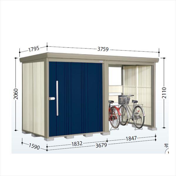 タクボ物置 TP/ストックマンプラスアルファ TP-37R15 一般型 標準屋根 『追加金額で工事も可能』 『駐輪スペース付 屋外用 物置 自転車収納 におすすめ』 ディープブルー