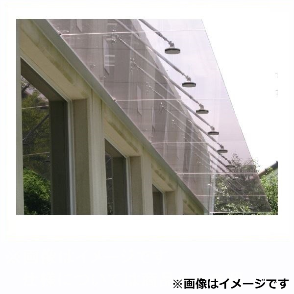 アルフィン庇 ガラスひさし 透明/乳白 サポートポール仕様 D1000×L1600 AF810