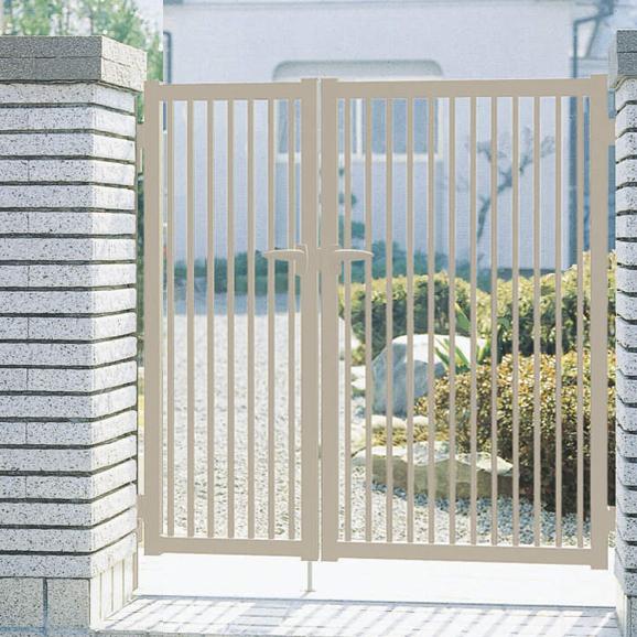 三協アルミ 形材門扉末広2型 04-0812 親子開き門柱タイプ 『キロ特別企画!鍵付き錠に無料で変更可能です』
