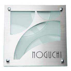 福彫 金属デザインアート ステンレス板ドライエッチング&クリアーガラス SPG-105 『表札 サイン 戸建』