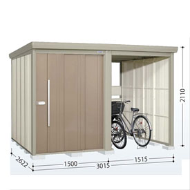 タクボ物置 TP/ストックマンプラスアルファ TP-Z3026 一般型 結露減少屋根 『追加金額で工事も可能』 『駐輪スペース付 屋外用 物置 自転車収納 におすすめ』 カーボンブラウン
