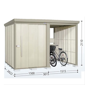 タクボ物置 TP/ストックマンプラスアルファ TP-SZ3026 多雪型 結露減少屋根 『追加金額で工事も可能』 『駐輪スペース付 屋外用 物置 自転車収納 におすすめ』 ムーンホワイト
