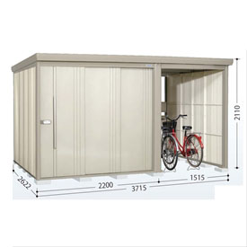 タクボ物置 TP/ストックマンプラスアルファ TP-SZ3726 多雪型 結露減少屋根 『追加金額で工事も可能』 『駐輪スペース付 屋外用 物置 自転車収納 におすすめ』 ムーンホワイト