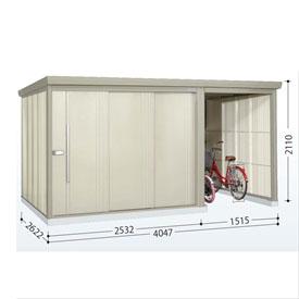 タクボ物置 TP/ストックマンプラスアルファ TP-S4026 多雪型 標準屋根  『駐輪スペース付 屋外用 物置 自転車収納 におすすめ』 ムーンホワイト