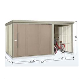 タクボ物置 TP/ストックマンプラスアルファ TP-S4026 多雪型 標準屋根  『駐輪スペース付 屋外用 物置 自転車収納 におすすめ』 カーボンブラウン