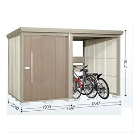 タクボ物置 TP/ストックマンプラスアルファ TP-33R22 一般型 標準屋根 『追加金額で工事も可能』 『駐輪スペース付 屋外用 物置 自転車収納 におすすめ』 カーボンブラウン