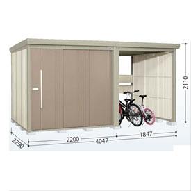 タクボ物置 TP/ストックマンプラスアルファ TP-S40R22 多雪型 標準屋根 『追加金額で工事も可能』 『駐輪スペース付 屋外用 物置 自転車収納 におすすめ』 カーボンブラウン