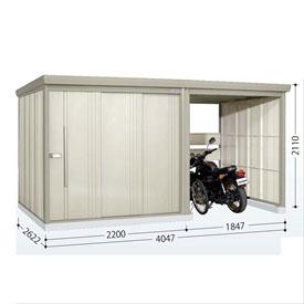 タクボ物置 TP/ストックマンプラスアルファ TP-S40R26 多雪型 標準屋根  『駐輪スペース付 屋外用 物置 自転車収納 におすすめ』 ムーンホワイト