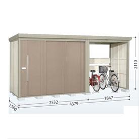 タクボ物置 TP/ストックマンプラスアルファ TP-43R15 一般型 標準屋根 『追加金額で工事も可能』 『駐輪スペース付 屋外用 物置 自転車収納 におすすめ』 カーボンブラウン