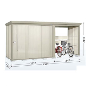 タクボ物置 TP/ストックマンプラスアルファ TP-S43R15 多雪型 標準屋根 『追加金額で工事も可能』 『駐輪スペース付 屋外用 物置 自転車収納 におすすめ』 ムーンホワイト