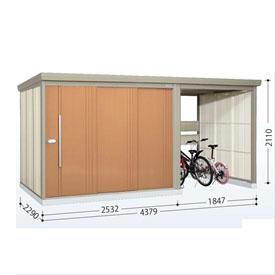 タクボ物置 TP/ストックマンプラスアルファ TP-43R22 一般型 標準屋根  『駐輪スペース付 屋外用 物置 自転車収納 におすすめ』 トロピカルオレンジ