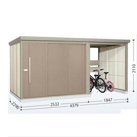 タクボ物置 TP/ストックマンプラスアルファ TP-S43R22 多雪型 標準屋根  『駐輪スペース付 屋外用 物置 自転車収納 におすすめ』 カーボンブラウン