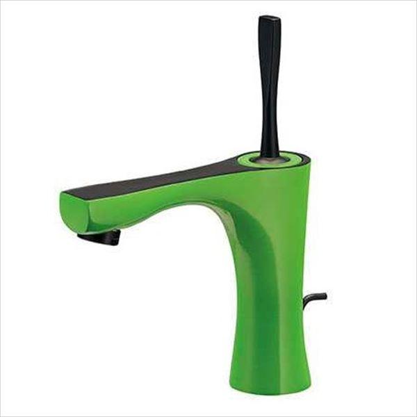カクダイ 水栓金具 神楽 シングルレバー混合栓(ライムグリーン) 引棒付き(直径4ミリ) 183-230-GR