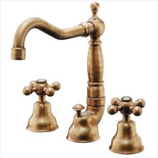 カクダイ 水栓金具 ANTIRA 2ハンドル混合栓(オールドブラス) 153-024-AB