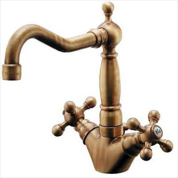 カクダイ 水栓金具 ANTIRA 2ハンドル混合栓(オールドブラス) 150-433-AB