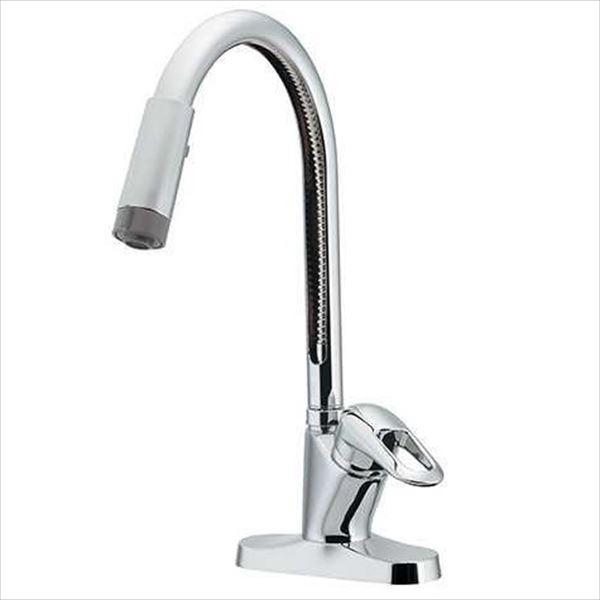 カクダイ 水洗金具 Ren シングルレバー混合栓(シャワーつき) 116-105
