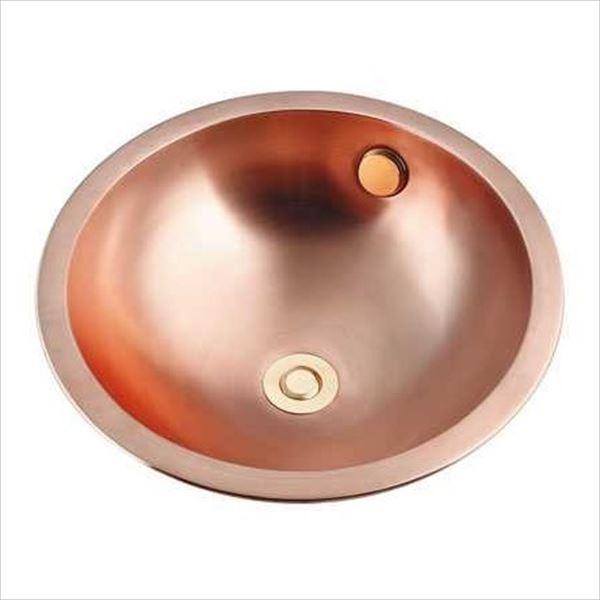 カクダイ 特殊水栓 機巧殺菌 アカガネ 丸型洗面器 専用排水上部セット(ポップアップ独立つまみタイプ)付き 493-135