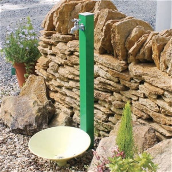 オンリーワン カラーアルミ立水栓 Lite(蛇口セット) 水栓柱 GM3-ALLGF +水鉢セット   ライトグリーン