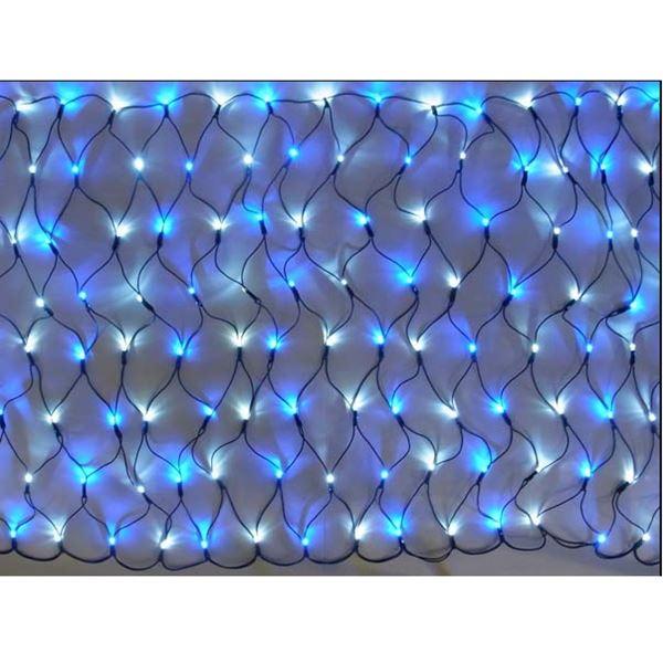コロナ産業 LED160球グリッターネットライト(ブラックコード)(2回線式1回路)/電源部別売り 常点灯仕様 白・青 #GLT160WB 『イルミネーションライト』 白・青