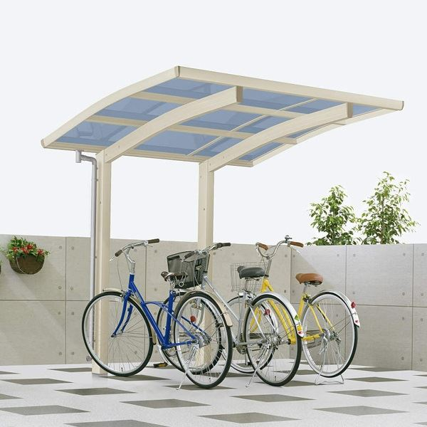 サイクルポート YKK ap レイナポートグラン ミニ 22-21 ポリカ屋根 ハイルーフ基本セット 『サビに強いアルミ製 家庭用 自転車置き場 屋根』