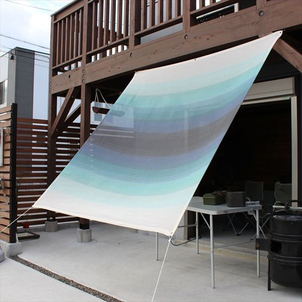 イチオリシェード グラデーション 『屋外用日よけ 透過性と通気性へのこだわり 日本製 シェード』 オーシャン