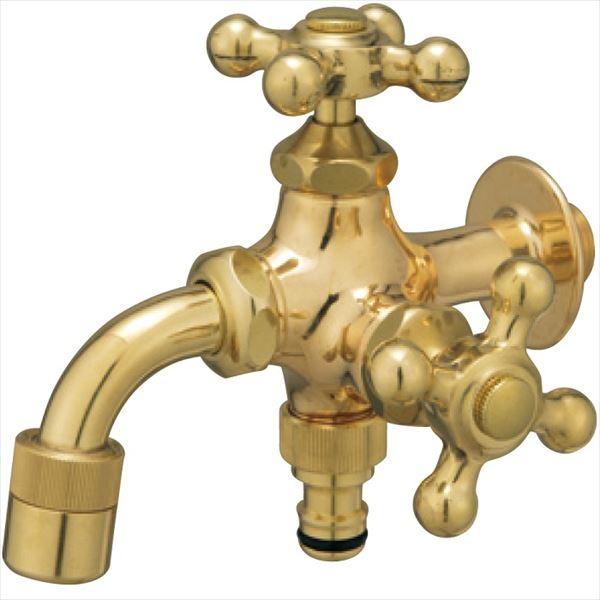 ユニソン プレーンフォーセット ツイン 『水栓柱・立水栓 蛇口』 ゴールド