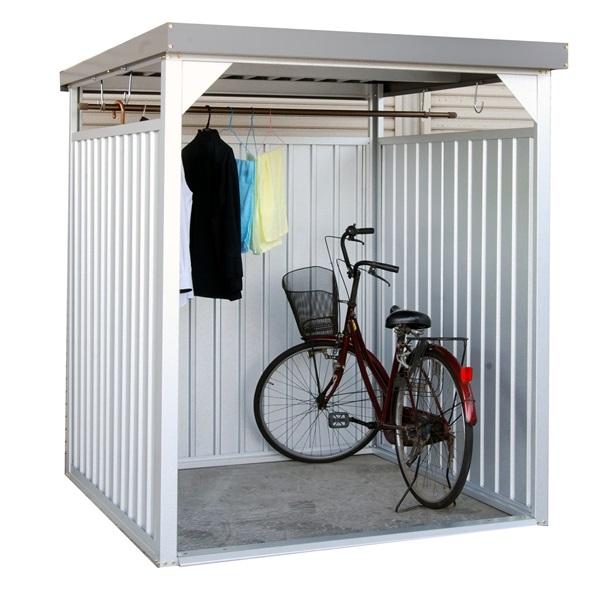 配送条件限定商品 ダイマツ 多目的万能物置 DM-7L 壁パネルロングタイプ 土台寸法 間口1613×奥行1615 『自転車屋根 横雨に強いスチールタイプ』