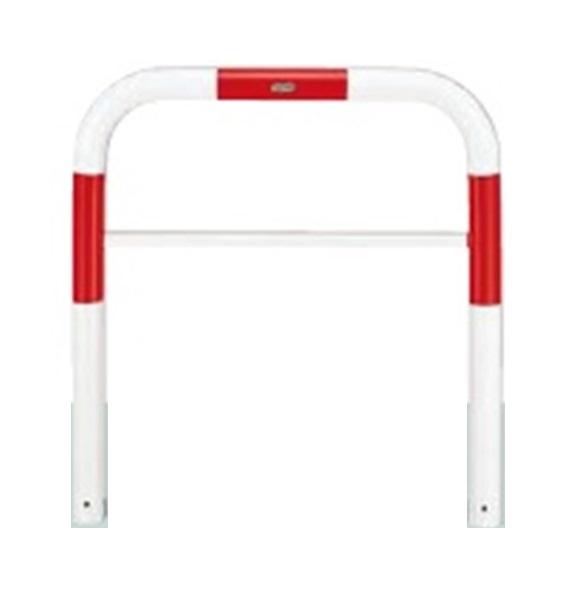 2019春の新作 赤白色:エクステリアのキロ支店 リクシル TOEX スペースガード(車止め) D76型 1500mm×800mm 取外し式 フタなし・キーなし スチール 赤白色 『リクシル』-エクステリア・ガーデンファニチャー