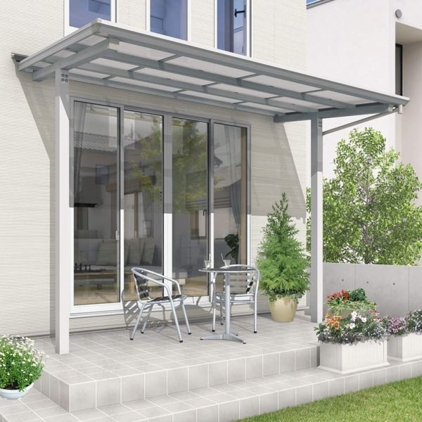 三協アルミ セパーネ 1間×5尺 ロング柱 外壁取付仕様隙間カバー付 ポリカーボネート屋根
