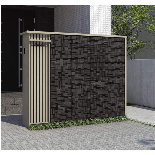 三協アルミ フィオーレ プラン組合せ12 機能門柱(両面意匠)、ブロック笠木・ブロックたて枠 <UC色>『表札付き』