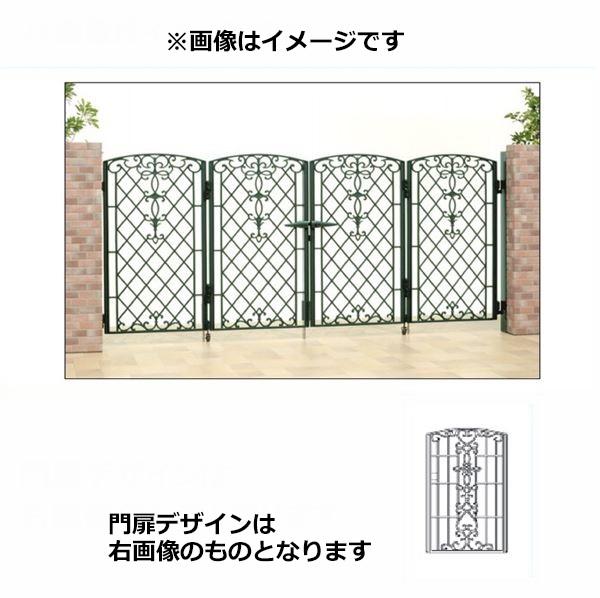 100%品質 0610:エクステリアのキロ支店 三協アルミ 門扉 キャスリート 5型 4枚折りセット 門柱タイプ-エクステリア・ガーデンファニチャー