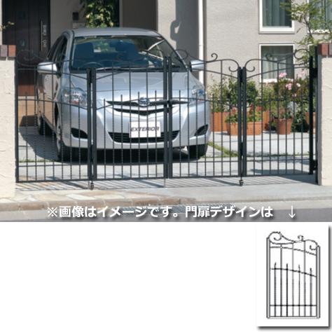 三協アルミ 門扉 プロヴァンス 1型 4枚折りセット 門柱タイプ 0610  アートブラック(KA) アートブラック(KA)