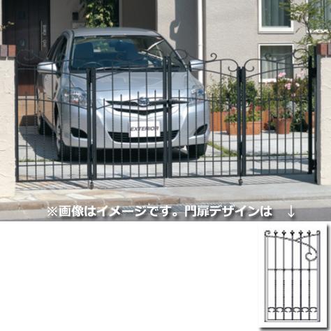三協アルミ 門扉 プロヴァンス 3型 4枚折りセット 門柱タイプ 0612  アートブラック(KA) アートブラック(KA)