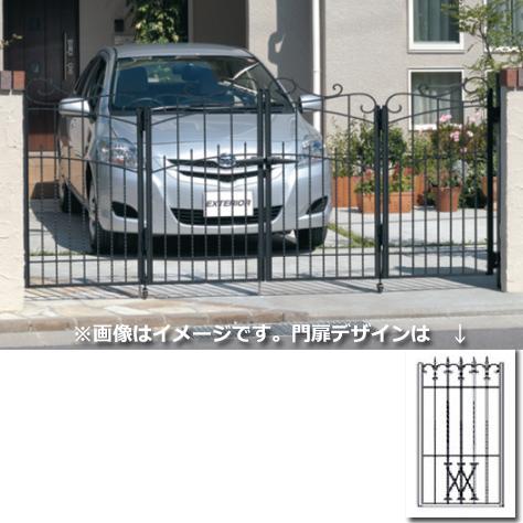 三協アルミ 門扉 プロヴァンス 4型 4枚折りセット 門柱タイプ 0612  アートブラック(KA) アートブラック(KA)