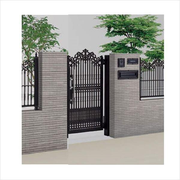 四国化成 ロードス門扉 2型 柱仕様 片開きセット 0815 ブラックつや消し