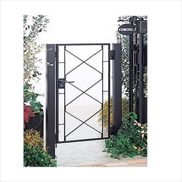 四国化成 ブルーム門扉 17型 柱仕様 片開き 0610 ブラックつや消し
