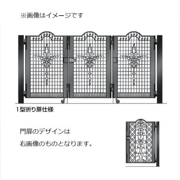 四国化成 ビビオ門扉 4型 柱仕様 3枚折り扉 0812 ブラックつや消し