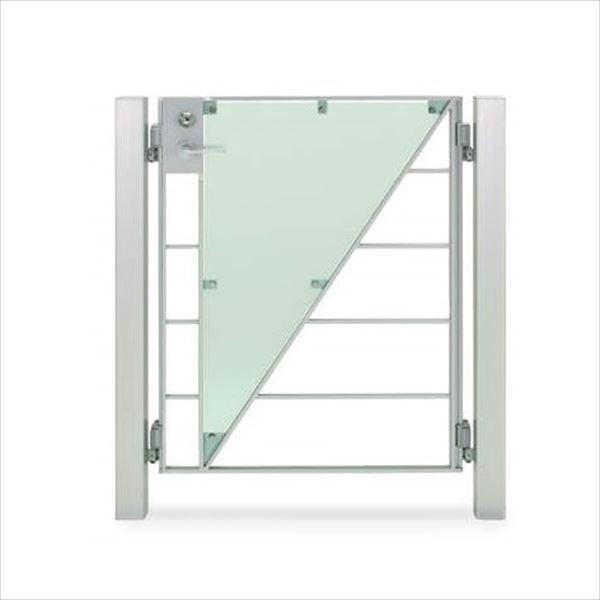 四国化成 マイ門扉 S2型 柱仕様 片開き 0712 ポリカタイプ シルバーつや消し/ガラス色マット調