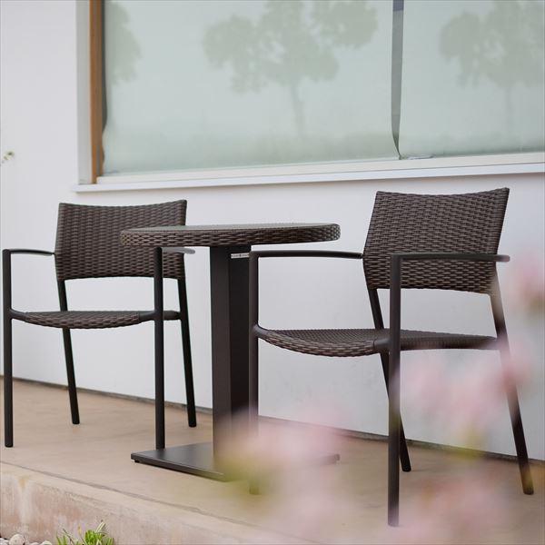 かじ新 RAUCORD ORIO+OLBIA スタッキングアームチェア+ダイニングテーブル 『ガーデンファニチャー』 *クッション料金含みます ダークブラウン