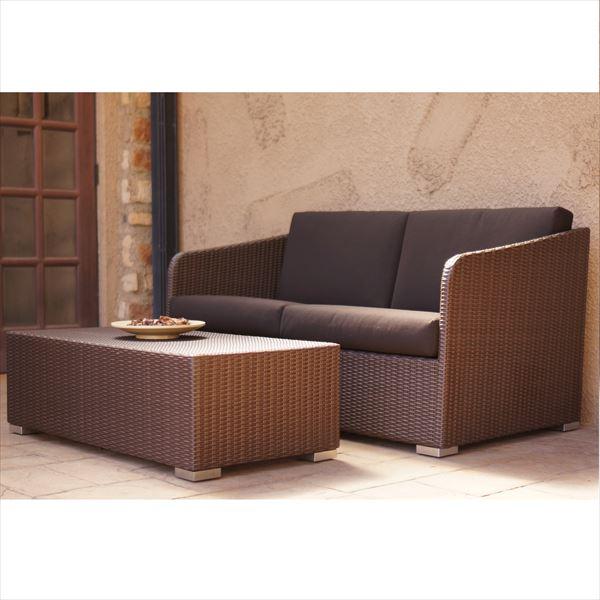 かじ新 RAUCORD RILASSA+ELBA ソファ 2シート+ソファテーブル 『ガーデンファニチャー』 *クッション料金含みます ダークブラウン