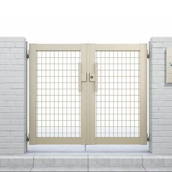 YKKAP シンプレオ門扉M1型 両開き 門柱仕様 08-10 HME-M1 『メッシュデザイン』