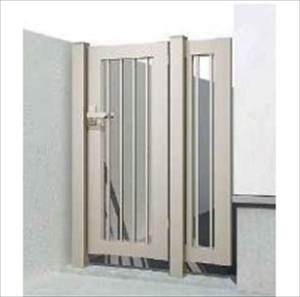 YKKAP 片開き専用シンプレオ門扉 K2型 埋込門柱+埋込門柱/袖FIX付き 07-12 HME-K2