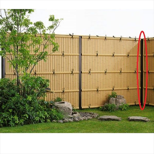 YKKAP 竹垣風フェンス オプション 間仕切柱 T80 目隠し角柱 真竹調