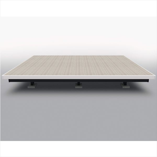 三協アルミ 屋外フローリング ラステラ 2.5間×15尺 床張り出し納まり ツートンフレームタイプ(下幕板黒) 束柱・固定/標準タイプ NRD2-1515 『ウッドデッキ 人工木 樹脂デッキの進化形』