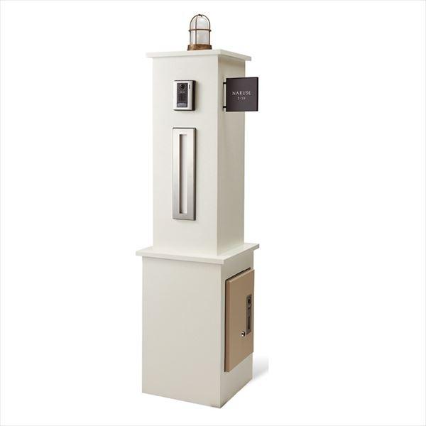 トーシン  ノートル380 口金ポストタイプ  組み合わせ例 ホワイト GW-NT380K-WH    ※組み合わせにインターホンは含まれていません。 『機能門柱 機能ポール』